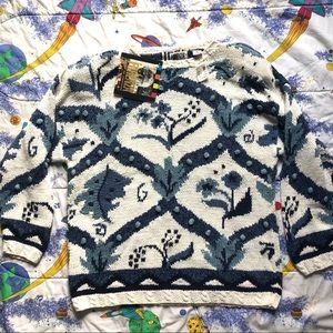 VTG 80s DEAD STOCK Floral Knit Pom Sweater